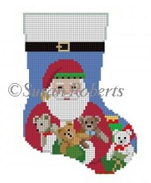 click here to view larger image of Teddy Santa Mini Sock (hand painted canvases)