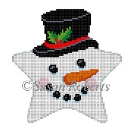 click here to view larger image of Snowman Face Star (hand painted canvases)