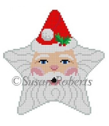 click here to view larger image of Santa Face Star (hand painted canvases)