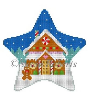 click here to view larger image of Gingerbread House Star (hand painted canvases)