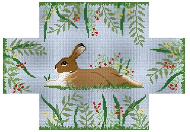click here to view larger image of Rabbit in Flowers Brick Cover (hand painted canvases)