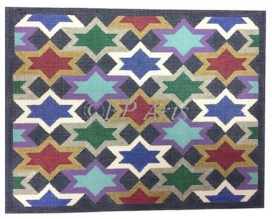click here to view larger image of Interwoven Stars Tallis (hand painted canvases)