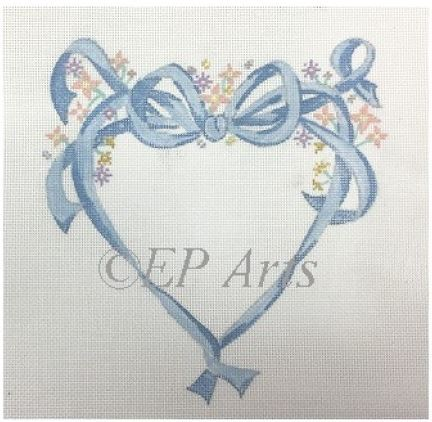click here to view larger image of Floral Ribbon Heart (hand painted canvases)