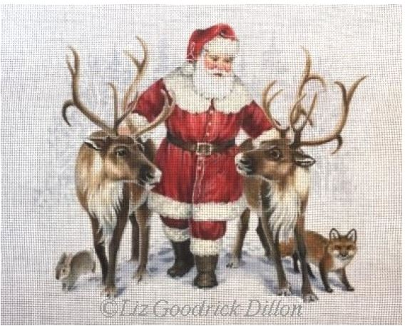 click here to view larger image of Santa and Reindeer Friends (hand painted canvases)
