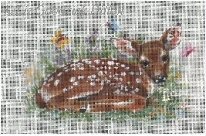 click here to view larger image of Fawn and Butterflies (hand painted canvases)