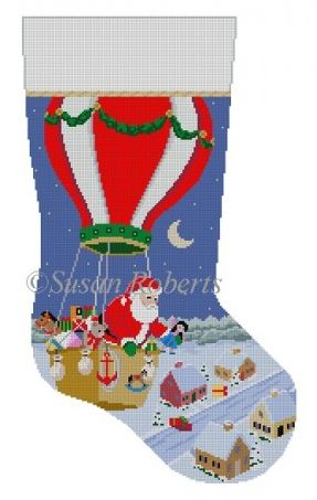 click here to view larger image of Hot Air Balloon Delivery Stocking (hand painted canvases)