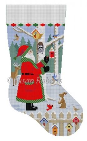 click here to view larger image of Santa With Bird Wreaths Stocking (hand painted canvases)