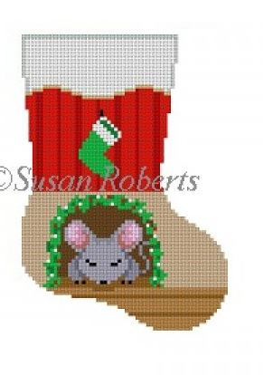 click here to view larger image of Sleeping Mouse mini sock (hand painted canvases)