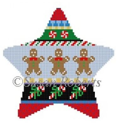 click here to view larger image of Gingerbread Stripe Star (hand painted canvases)