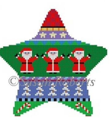 click here to view larger image of Santa Stripe Star (hand painted canvases)
