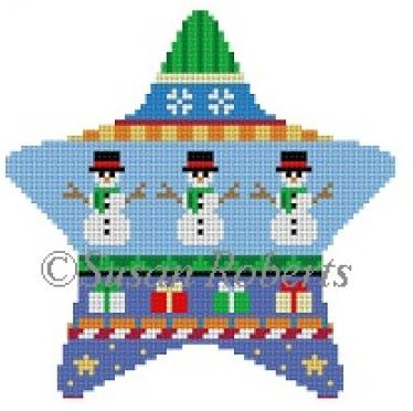 click here to view larger image of Snowmen Stripe Star (hand painted canvases)
