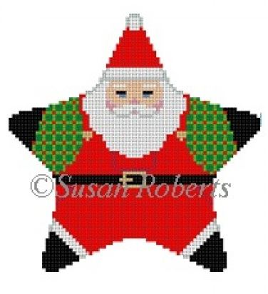 click here to view larger image of Santa Overalls Star (hand painted canvases)