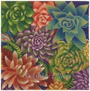 click here to view larger image of Succulents (hand painted canvases)