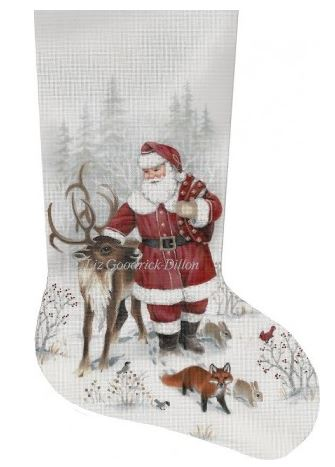 click here to view larger image of Santa and Reindeer Stocking (hand painted canvases)