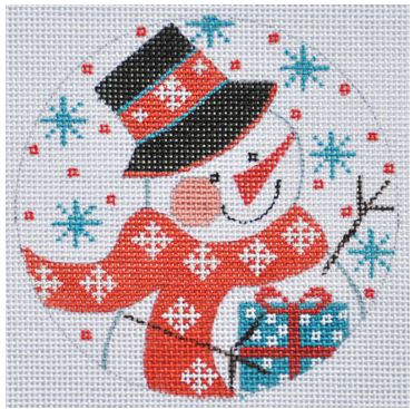 click here to view larger image of Snowman with Present Ornament (hand painted canvases)