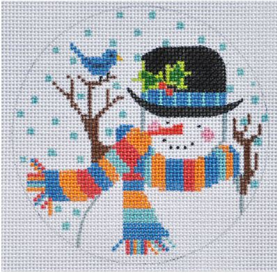 click here to view larger image of Santa with Bluebird Ornament (hand painted canvases)