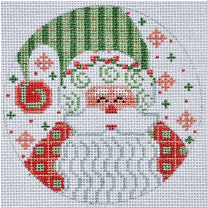 click here to view larger image of Santa with Stripes Ornament (hand painted canvases)