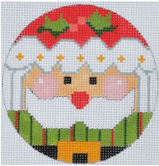 click here to view larger image of Striped Santa Ornament (hand painted canvases)