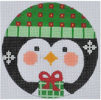click here to view larger image of Green Penguin Ornament (hand painted canvases)