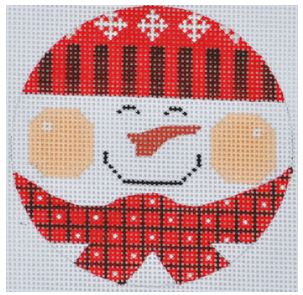 click here to view larger image of Red Snowman Ornament (hand painted canvases)