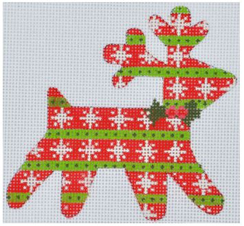 click here to view larger image of Snowflake Reindeer Ornament (hand painted canvases)