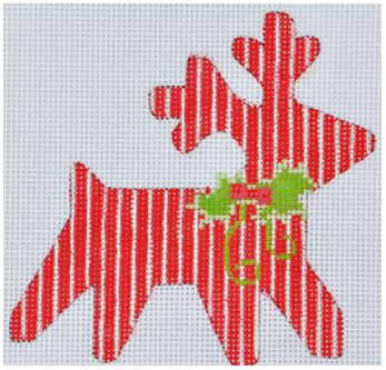 click here to view larger image of Striped Reindeer Ornament (hand painted canvases)