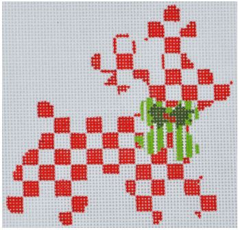 click here to view larger image of Checkered Reindeer Ornament (hand painted canvases)