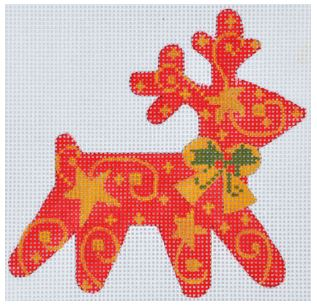 click here to view larger image of Stars Reindeer Ornament (hand painted canvases)
