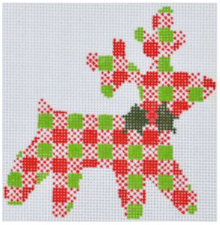 click here to view larger image of Plaid Reindeer Ornament (hand painted canvases)