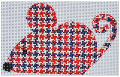 click here to view larger image of Red/Blue Plaid Mouse (hand painted canvases)