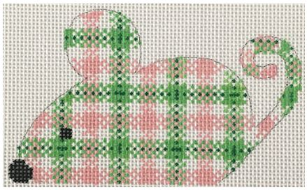 click here to view larger image of Pink/Green Plaid Mouse (hand painted canvases)