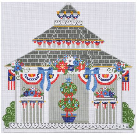 click here to view larger image of Fourth of July Gazebo (hand painted canvases)