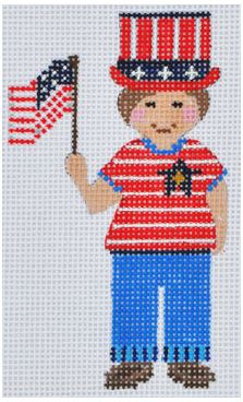 click here to view larger image of Boy with Flag (hand painted canvases)