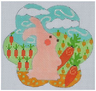 click here to view larger image of Pink Bunny with Carrots (hand painted canvases)