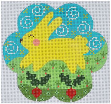 click here to view larger image of Yellow Bunny with Radish (hand painted canvases)
