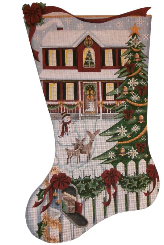 click here to view larger image of Red House Stocking (hand painted canvases)