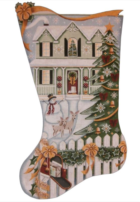 click here to view larger image of Green House Stocking (hand painted canvases)