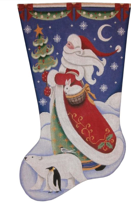 click here to view larger image of Polar Santa Stocking (hand painted canvases)
