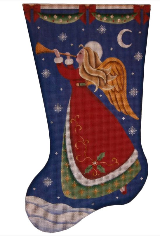 click here to view larger image of Horn Angel Stocking (hand painted canvases)