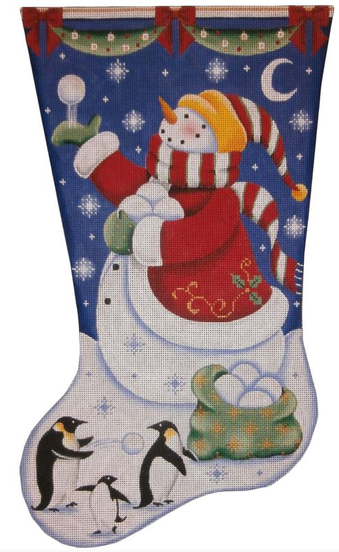 click here to view larger image of Snowballs Stocking (hand painted canvases)