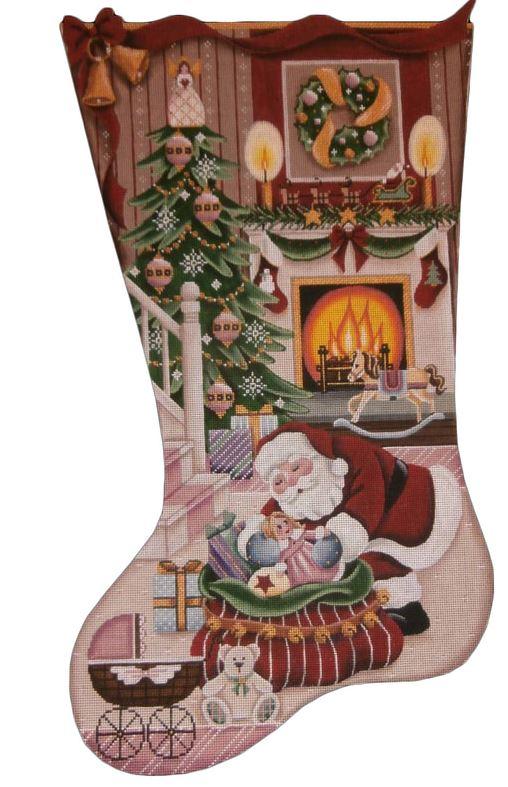 click here to view larger image of Christmas by the Fire Girl Stocking (hand painted canvases)