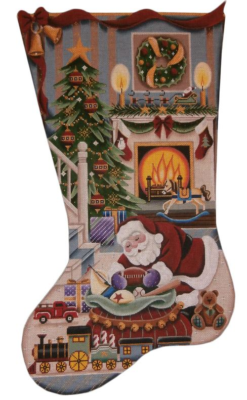 click here to view larger image of Christmas by the Fire Boy Stocking (hand painted canvases)