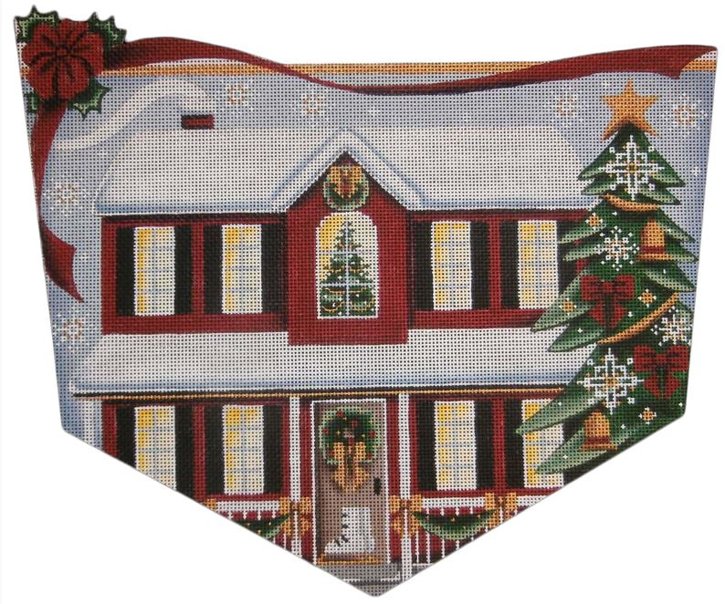 click here to view larger image of Red House Christmas (hand painted canvases)