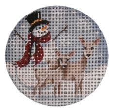 click here to view larger image of Snowman Deer (hand painted canvases)