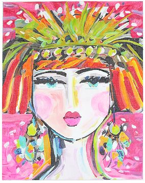 click here to view larger image of Flapper Girl (hand painted canvases)