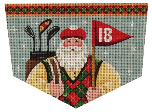 click here to view larger image of Golfing Santa Cuff - 18ct (hand painted canvases)