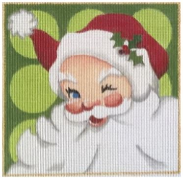 click here to view larger image of Green Santa Square (hand painted canvases)