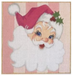click here to view larger image of Pink Santa Square (hand painted canvases)