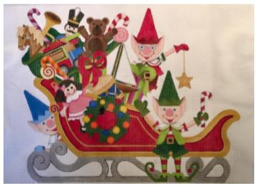 click here to view larger image of Small Santas Sleigh (hand painted canvases)