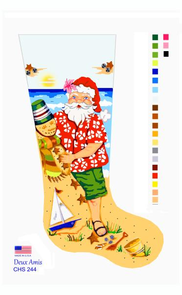 click here to view larger image of Mr. Beach Santa - 13M (hand painted canvases)